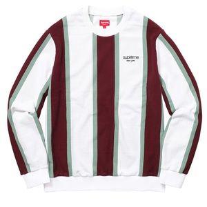 Supreme striped vertical pique crewneck white ss18